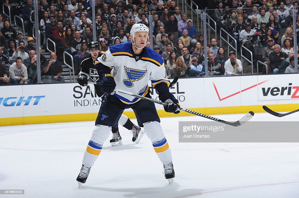Jay Bouwmeester of the St Louis Blues looks on during a game against the Los Angeles Kings at STAPLES Center on October 16 2014 in Los Angeles...