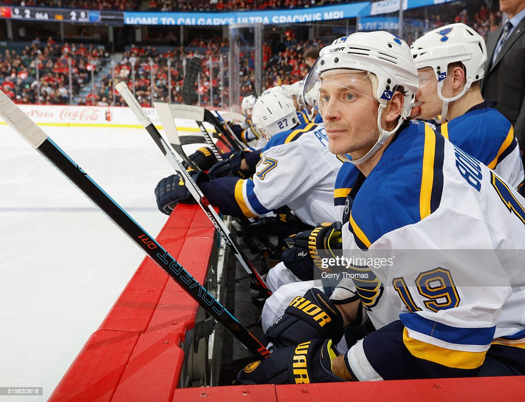 Jay Bouwmeester of the St Louis Blues looks on from the bench against the Calgary Flames at Scotiabank Saddledome on March 14 2016 in Calgary Alberta...