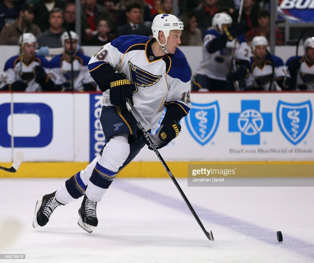 Jay Bouwmeester of the St Louis Blues moves against the Chicago Blackhawks at the United Center on March 19 2014 in Chicago Illinois The Blackhawks...