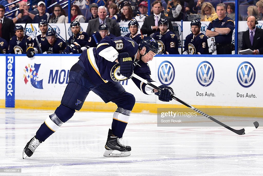 Jay Bouwmeester of the St Louis Blues shoots against the Anaheim Ducks on October 30 2014 at Scottrade Center in St Louis Missouri
