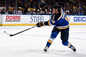 Jay Bouwmeester of the St Louis Blues shoots against the Colorado Avalanche on December 13 2015 at Scottrade Center in St Louis Missouri