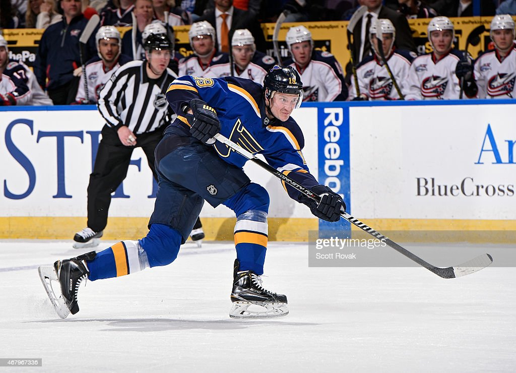 Jay Bouwmeester of the St Louis Blues shoots against the Columbus Blue Jackets on March 28 2015 at Scottrade Center in St Louis Missouri
