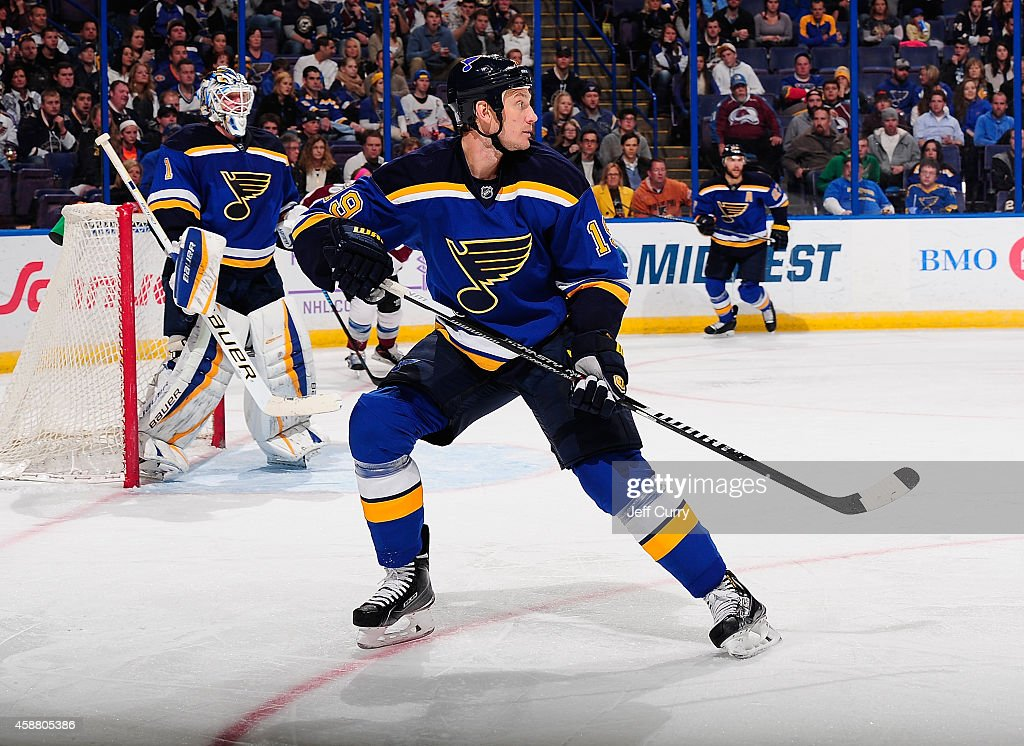 Jay Bouwmeester of the St Louis Blues skates against the Colorado Avalanche on November 1 2014 at Scottrade Center in St Louis Missouri