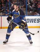 Jay Bouwmeester of the St Louis Blues skates against the Dallas Stars in an NHL game on April 19 2013 at Scottrade Center in St Louis Missouri