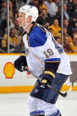 Jay Bouwmeester of the St Louis Blues skates against the Nashville Predators at Bridgestone Arena on March 6 2014 in Nashville Tennessee