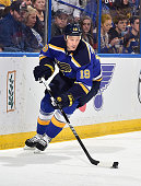 Jay Bouwmeester of the St Louis Blues skates against the New York Rangers on October 9 2014 at Scottrade Center in St Louis Missouri