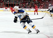 Jay Bouwmeester of the St Louis Blues skates for position on the ice during their NHL game against the Carolina Hurricanes at PNC Arena on January 30...