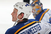 Jay Bouwmeester of the St Louis Blues stretches prior to the game against the Colorado Avalanche at the Pepsi Center on December 13 2014 in Denver...