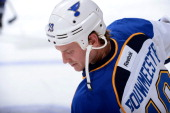 Jay Bouwmeester of the St Louis Blues warms up prior to the game against the Los Angeles Kings at Staples Center on December 2 2013 in Los Angeles...