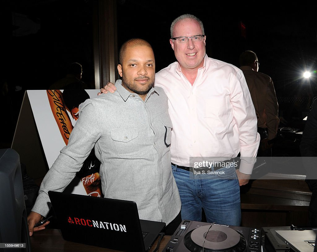 Jay Brown and President/COO Island Def Jam and Music Group, Steve Bartels (R) attend the pre-release preview of Rihanna's new album 'Unapologetic' at 40 / 40 Club on November 9, 2012 in New York City.