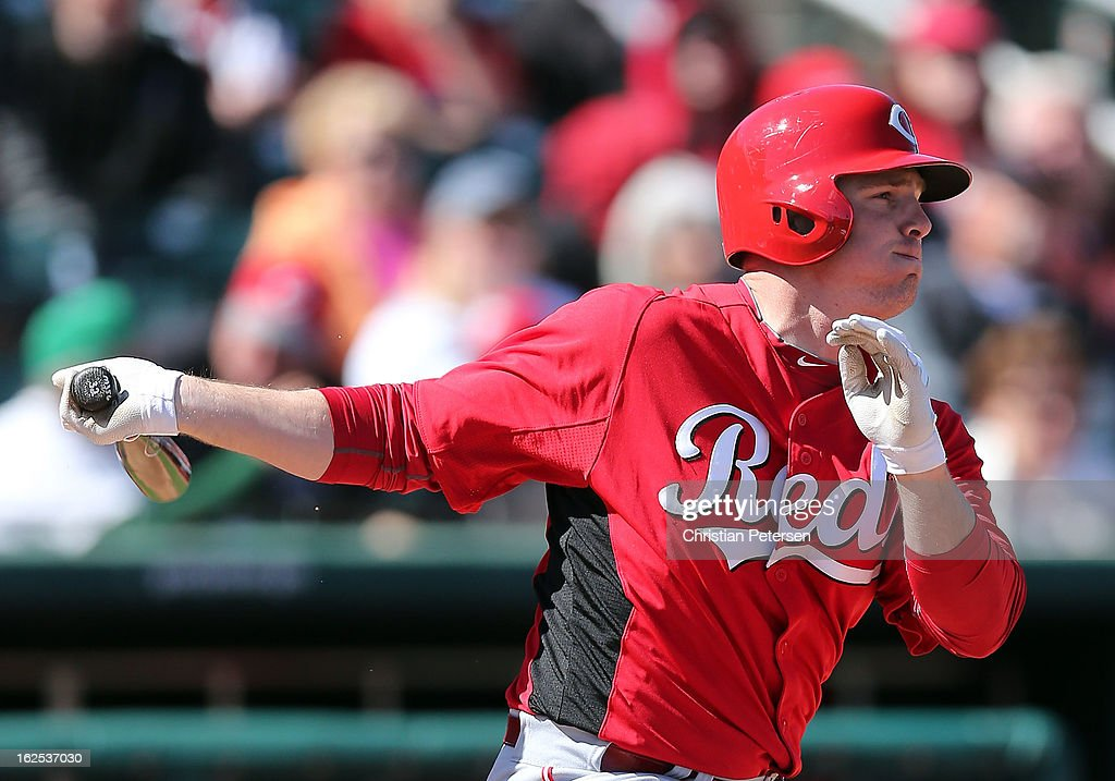 <a gi-track='captionPersonalityLinkClicked' href=/galleries/search?phrase=Jay+Bruce&family=editorial&specificpeople=4391540 ng-click='$event.stopPropagation()'>Jay Bruce</a> #32 of the Cincinnati Reds bats against the Cleveland Indians during the spring training game at Goodyear Ballpark on February 24, 2013 in Goodyear, Arizona