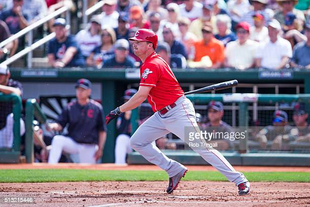 Jay Bruce of the Cincinnati Reds bats during a spring training game against the Cleveland Indians at Goodyear Ballpark on March 1 2016 in Goodyear...