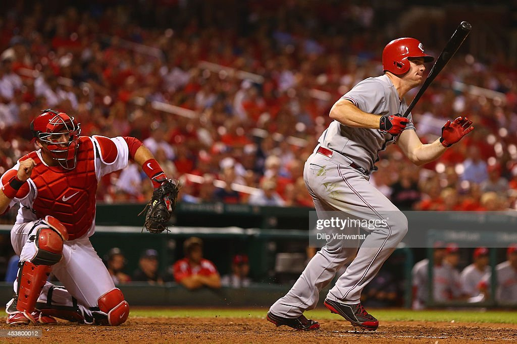 <a gi-track='captionPersonalityLinkClicked' href=/galleries/search?phrase=Jay+Bruce&family=editorial&specificpeople=4391540 ng-click='$event.stopPropagation()'>Jay Bruce</a> #32 of the Cincinnati Reds bats in the game-tying run with a double in the ninth inning at Busch Stadium on August 18, 2014 in St. Louis, Missouri. The Cardinals beat the Reds in 10 innings.