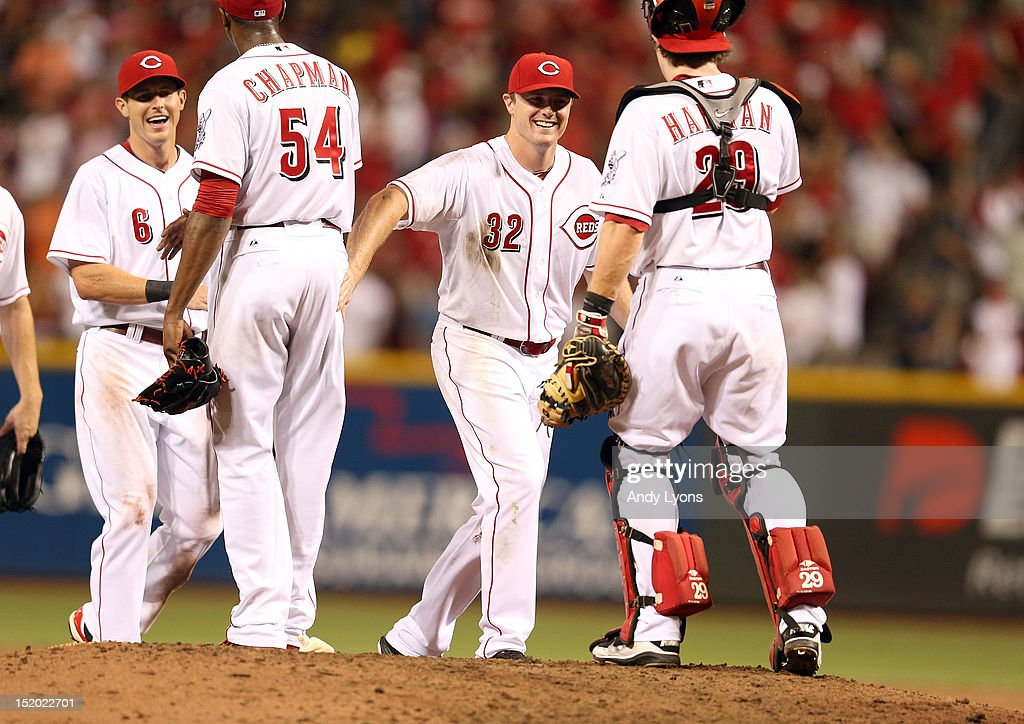 <a gi-track='captionPersonalityLinkClicked' href=/galleries/search?phrase=Jay+Bruce&family=editorial&specificpeople=4391540 ng-click='$event.stopPropagation()'>Jay Bruce</a> #32 of the Cincinnati Reds celebrates during the game against the Pittsburgh Pirates at Great American Ball Park on August 4, 2012 in Cincinnati, Ohio.