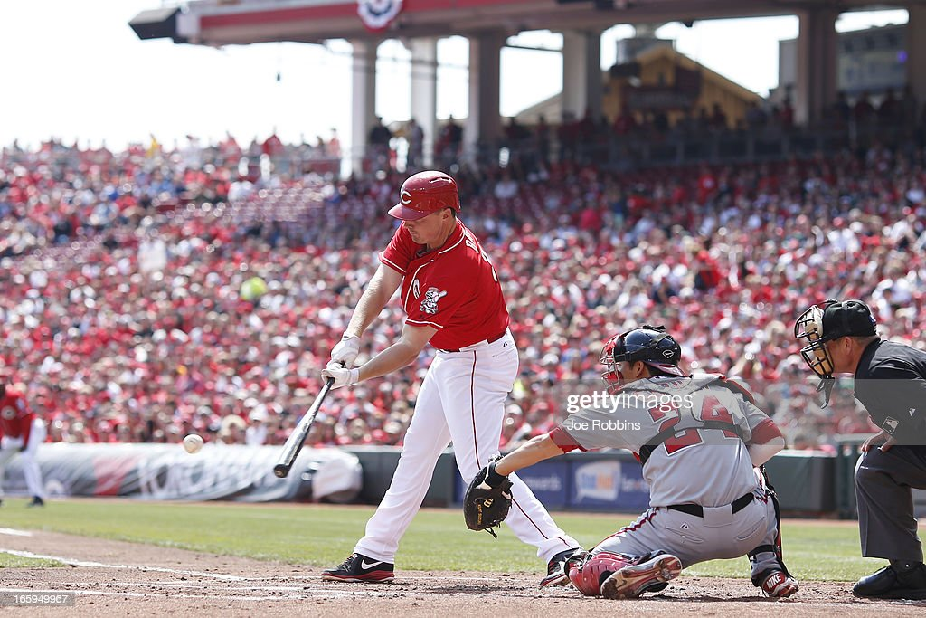 <a gi-track='captionPersonalityLinkClicked' href=/galleries/search?phrase=Jay+Bruce&family=editorial&specificpeople=4391540 ng-click='$event.stopPropagation()'>Jay Bruce</a> #32 of the Cincinnati Reds doubles to drive in two runs in the first inning of the game against the Washington Nationals at Great American Ball Park on April 7, 2013 in Cincinnati, Ohio.
