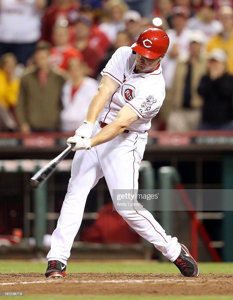 <a gi-track='captionPersonalityLinkClicked' href=/galleries/search?phrase=Jay+Bruce&family=editorial&specificpeople=4391540 ng-click='$event.stopPropagation()'>Jay Bruce</a> #32 of the Cincinnati Reds drives in the game tying runs in the 13th inning during the game against the Chicago Cubsat Great American Ball Park on April 22, 2013 in Cincinnati, Ohio.