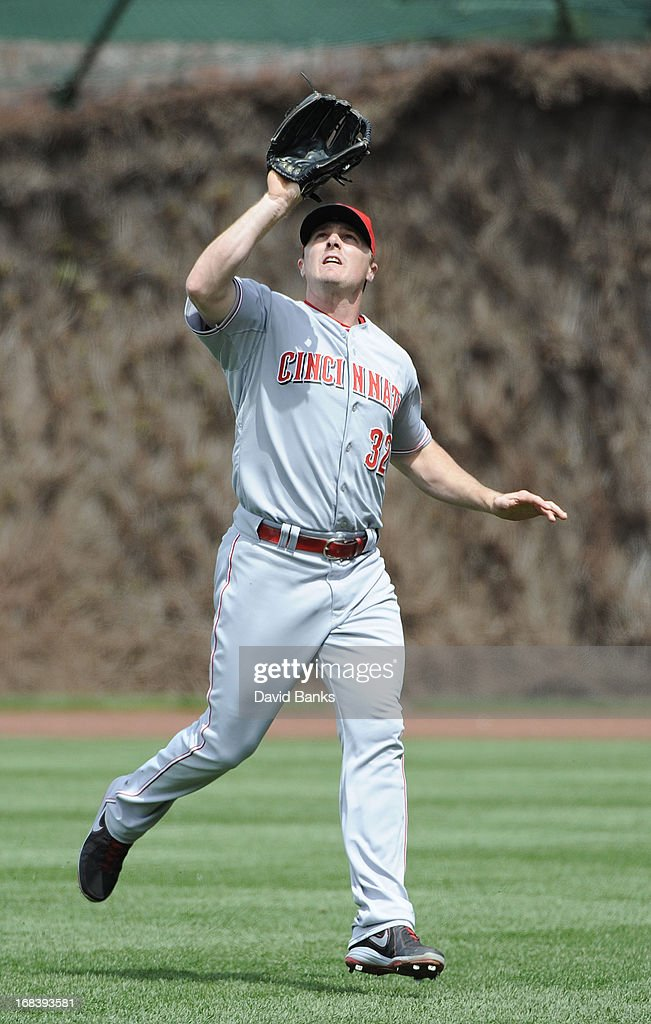 <a gi-track='captionPersonalityLinkClicked' href=/galleries/search?phrase=Jay+Bruce&family=editorial&specificpeople=4391540 ng-click='$event.stopPropagation()'>Jay Bruce</a> #32 of the Cincinnati Reds during a game against the Chicago Cubs on May 4, 2013 at Wrigley Field in Chicago, Illinois.