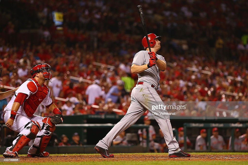 <a gi-track='captionPersonalityLinkClicked' href=/galleries/search?phrase=Jay+Bruce&family=editorial&specificpeople=4391540 ng-click='$event.stopPropagation()'>Jay Bruce</a> #32 of the Cincinnati Reds hits a three-run home run in the fifth inning against the St. Louis Cardinals at Busch Stadium on August 18, 2014 in St. Louis, Missouri. The Cardinals beat the Reds in 10 innings.