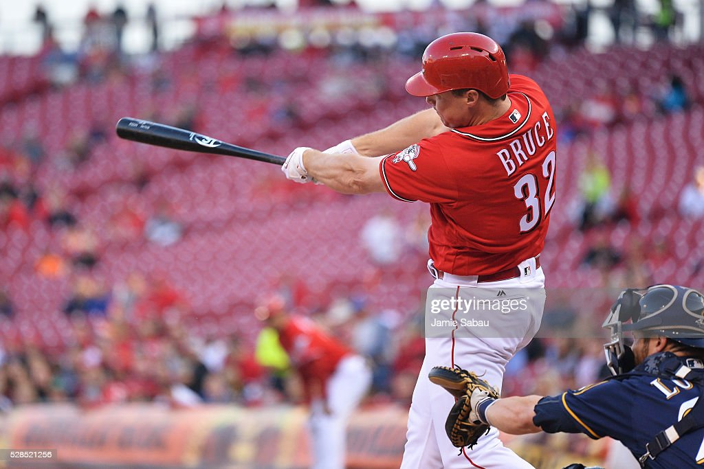 <a gi-track='captionPersonalityLinkClicked' href=/galleries/search?phrase=Jay+Bruce&family=editorial&specificpeople=4391540 ng-click='$event.stopPropagation()'>Jay Bruce</a> #32 of the Cincinnati Reds hits a three-run home run in the first inning against the Milwaukee Brewers at Great American Ball Park on May 5, 2016 in Cincinnati, Ohio.