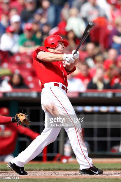 Jay Bruce of the Cincinnati Reds hits the goahead home run in the eighth inning against the Houston Astros at Great American Ball Park on April 29...