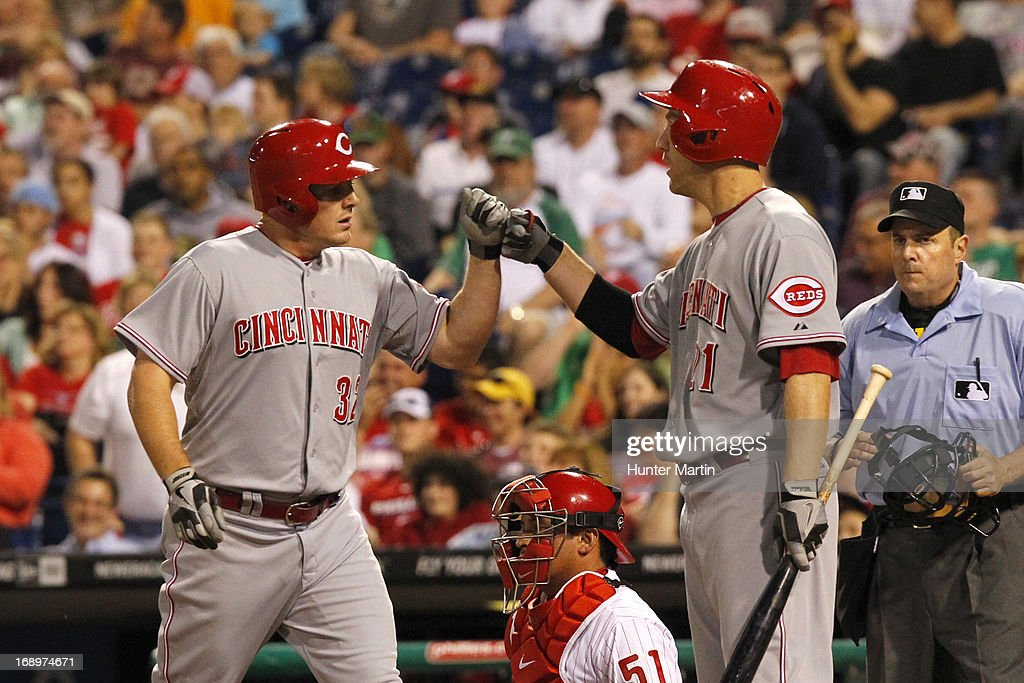 <a gi-track='captionPersonalityLinkClicked' href=/galleries/search?phrase=Jay+Bruce&family=editorial&specificpeople=4391540 ng-click='$event.stopPropagation()'>Jay Bruce</a> #32 of the Cincinnati Reds is congratulated by Todd Frazier #21 after hitting a two-run home run in the sixth inning during a game against the Philadelphia Phillies at Citizens Bank Park on May 17, 2013 in Philadelphia, Pennsylvania. The Phillies won 5-3.
