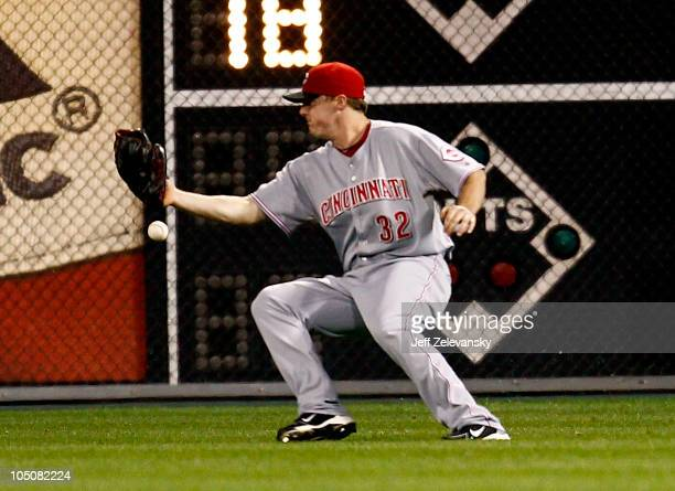 Jay Bruce of the Cincinnati Reds misplays a popup in Game 2 of the NLDS against the Philadelphia Phillies at Citizens Bank Park on October 8 2010 in...