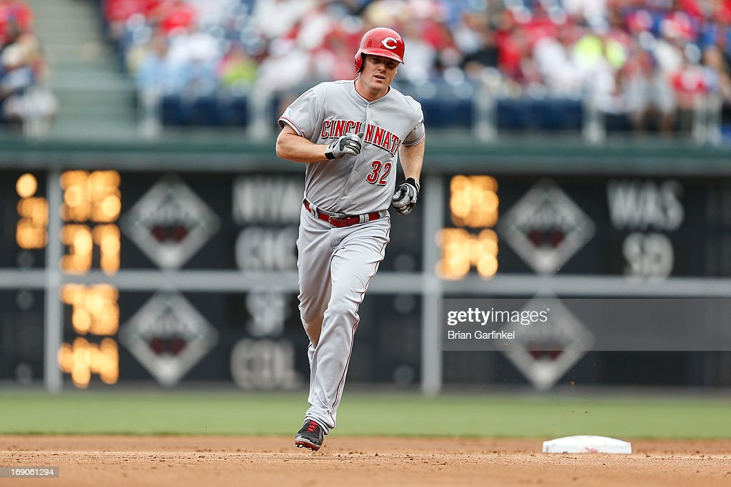 <a gi-track='captionPersonalityLinkClicked' href=/galleries/search?phrase=Jay+Bruce&family=editorial&specificpeople=4391540 ng-click='$event.stopPropagation()'>Jay Bruce</a> #32 of the Cincinnati Reds rounds second after hitting a home run in the second inning of the game against the Philadelphia Phillies at Citizens Bank Park on May 19, 2013 in Philadelphia, Pennsylvania.