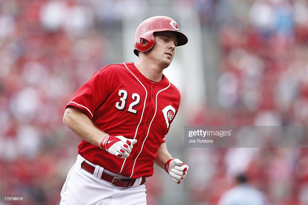 <a gi-track='captionPersonalityLinkClicked' href=/galleries/search?phrase=Jay+Bruce&family=editorial&specificpeople=4391540 ng-click='$event.stopPropagation()'>Jay Bruce</a> #32 of the Cincinnati Reds rounds the bases after hitting a two-run home run in the third inning of the game against the Oakland Athletics at Great American Ball Park on August 7, 2013 in Cincinnati, Ohio.
