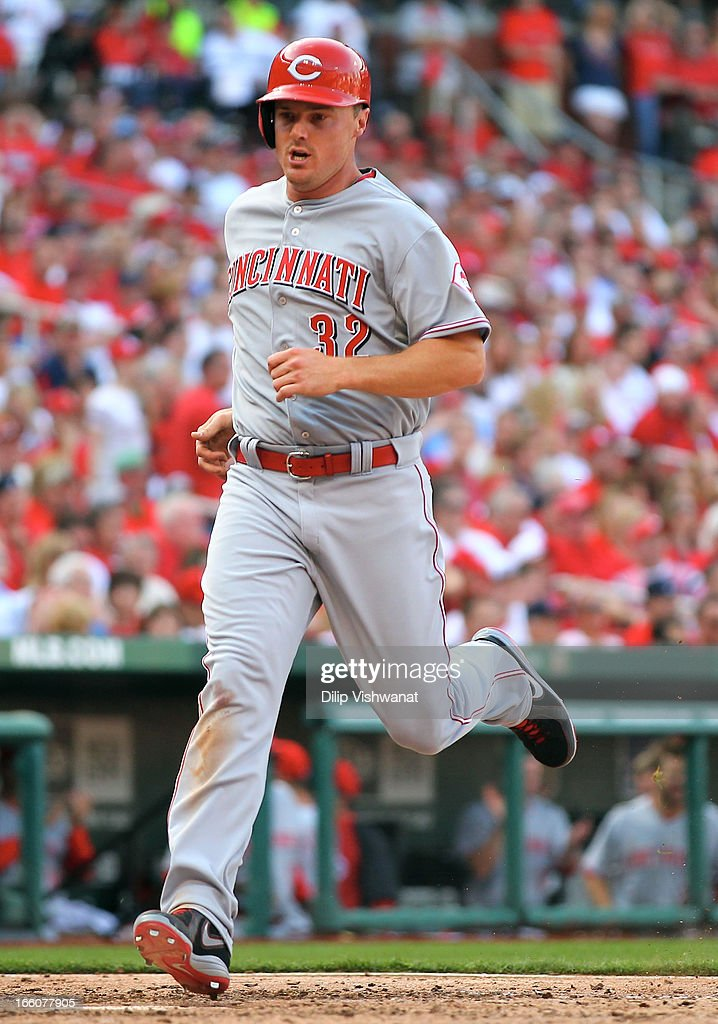<a gi-track='captionPersonalityLinkClicked' href=/galleries/search?phrase=Jay+Bruce&family=editorial&specificpeople=4391540 ng-click='$event.stopPropagation()'>Jay Bruce</a> #32 of the Cincinnati Reds scores a run to tie the game against the St. Louis Cardinals during Opening Day on April 8, 2013 at Busch Stadium in St. Louis, Missouri.