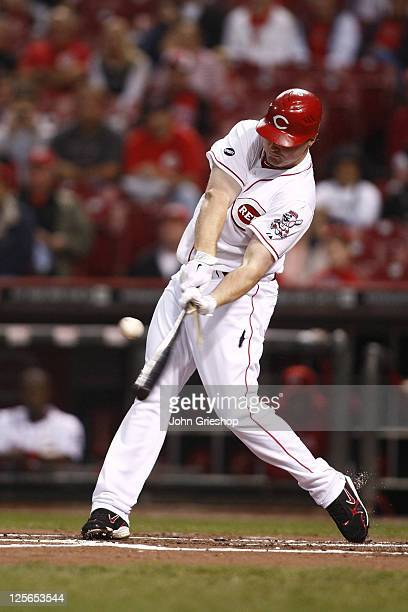 Jay Bruce of the Cincinnati Reds shatters his bat during the game against the Houston Astros on September 19 2011 at Great American Ball Park in...