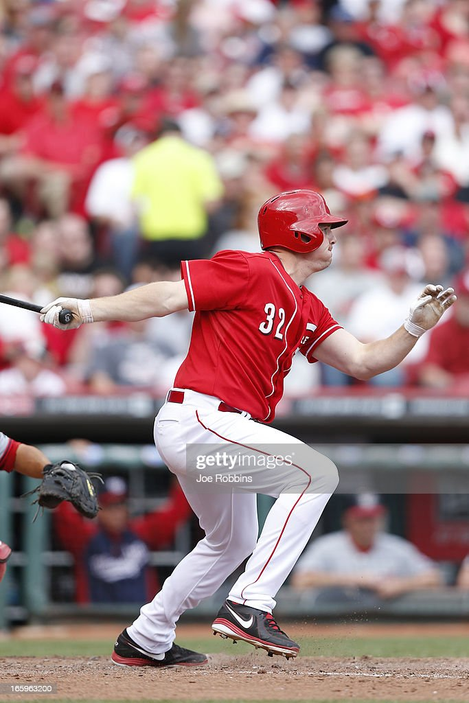 <a gi-track='captionPersonalityLinkClicked' href=/galleries/search?phrase=Jay+Bruce&family=editorial&specificpeople=4391540 ng-click='$event.stopPropagation()'>Jay Bruce</a> #32 of the Cincinnati Reds singles to drive in a run in the sixth inning of the game against the Washington Nationals at Great American Ball Park on April 7, 2013 in Cincinnati, Ohio. The Reds won 6-3.
