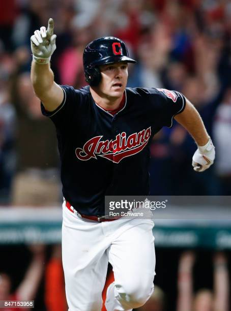 Jay Bruce of the Cleveland Indians celebrates after hitting a game winning single off Brandon Maurer of the Kansas City Royals during the tenth...