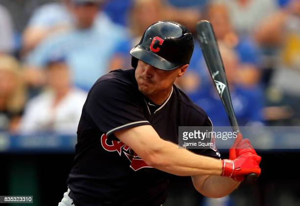 Jay Bruce of the Cleveland Indians hits a 2run home run during the 1st inning of the game against the Kansas City Royals at Kauffman Stadium on...