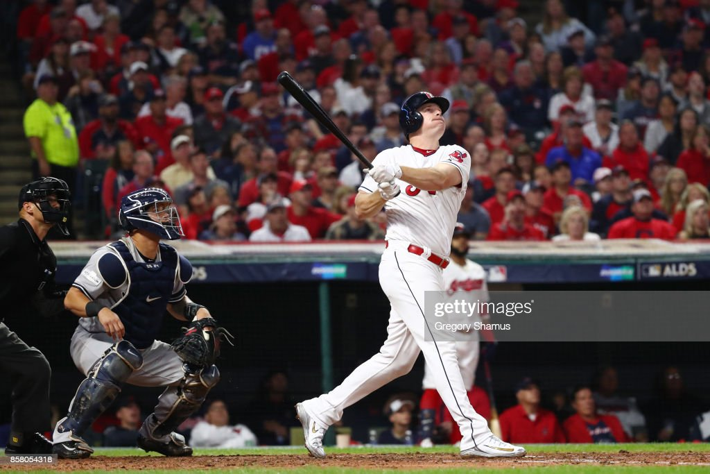 Jay Bruce #32 of the Cleveland Indians hits a two-run home run during the fourth inning against the New York Yankees during game one of the American League Division Series at Progressive Field on October 5, 2017 in Cleveland, Ohio.