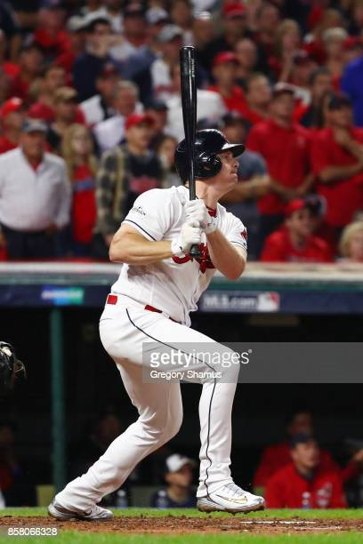 Jay Bruce of the Cleveland Indians hits an RBI sacfly during the fifth inning against the New York Yankees during game one of the American League...