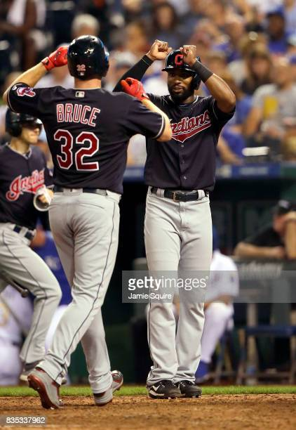 Jay Bruce of the Cleveland Indians is congratulated by Austin Jackson after hitting a 3run home run during the 7th inning of the game against the...