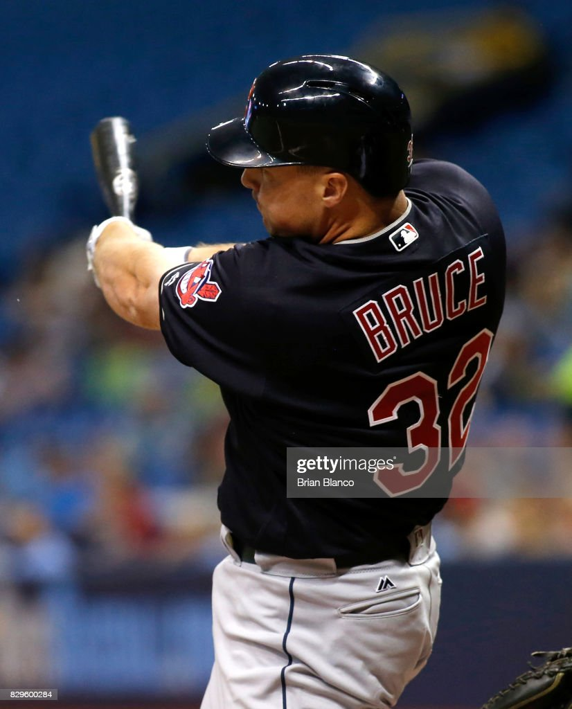 Jay Bruce #32 of the Cleveland Indians pops out to shortstop Adeiny Hechavarria of the Tampa Bay Rays during the seventh inning of a game on August 10, 2017 at Tropicana Field in St. Petersburg, Florida.