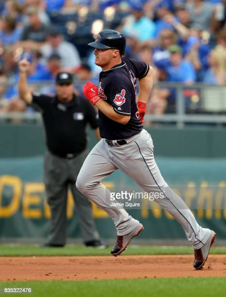 Jay Bruce of the Cleveland Indians rounds the bases after hitting a 2run home run during the 1st inning of the game against the Kansas City Royals at...