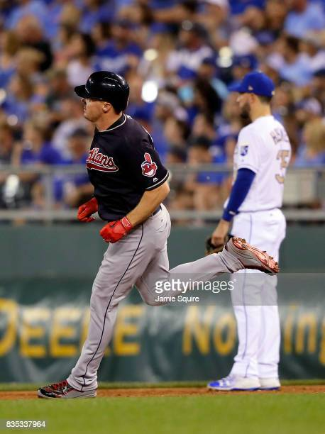 Jay Bruce of the Cleveland Indians rounds the bases after hitting a 3run home run during the 7th inning of the game against the Kansas City Royals at...