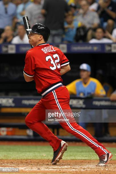Jay Bruce of the Indians at bat during the MLB regular season game between the Cleveland Indians and Tampa Bay Rays on August 12 at Tropicana Field...