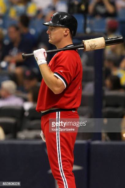 Jay Bruce of the Indians stands on deck during the MLB regular season game between the Cleveland Indians and Tampa Bay Rays on August 12 at Tropicana...