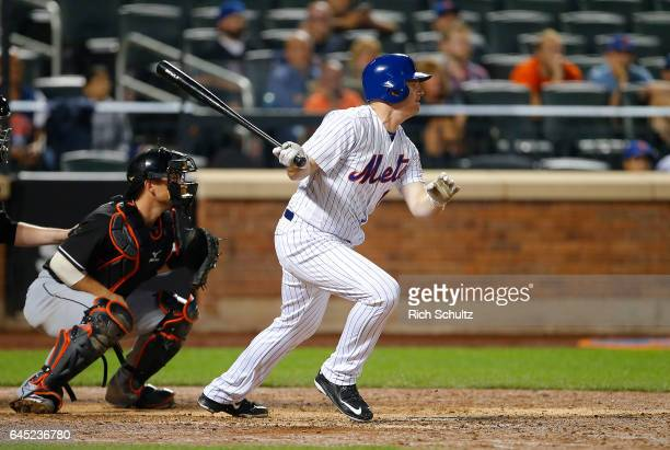 Jay Bruce of the New York Mets in action against the Miami Marlins during a game at Citi Field on September 1 2016 in the Flushing neighborhood of...