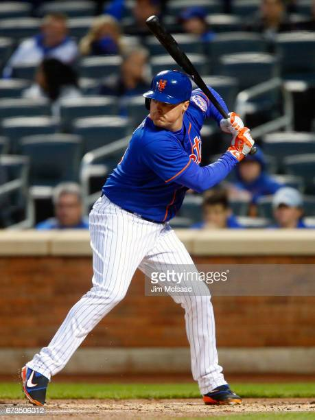 Jay Bruce of the New York Mets in action against the Washington Nationals at Citi Field on April 21 2017 in the Flushing neighborhood of the Queens...