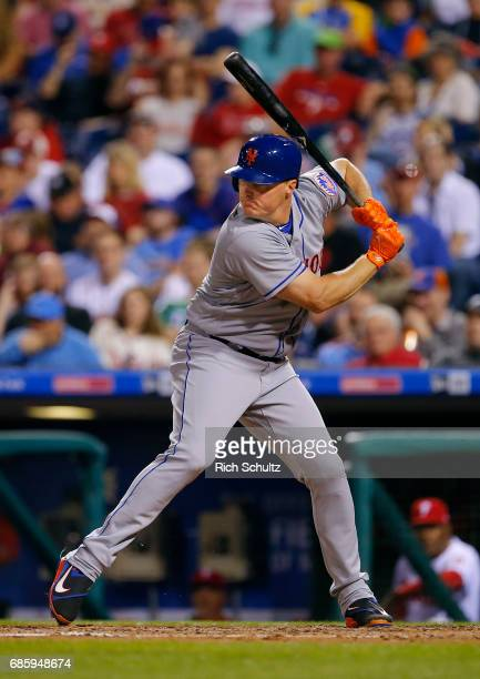 Jay Bruce of the New York Mets in action during a game against the Philadelphia Phillies at Citizens Bank Park on April 10 2017 in Philadelphia...