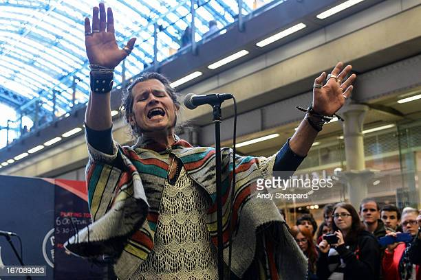 Jay Buchanan of the band Rival Sons performs on stage for Station Sessions Festival 2013 at St Pancras Station on April 19 2013 in London England