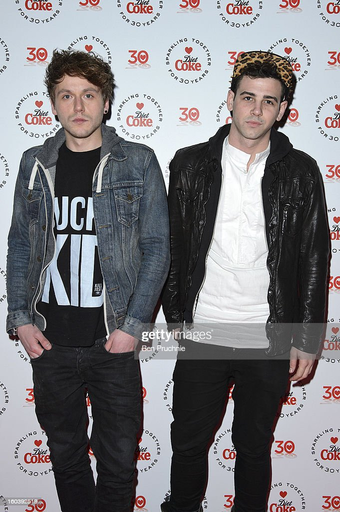 Jay Camilleri (R) attends a party hosted by Diet Coke at Sketch on January 30, 2013 in London, England.