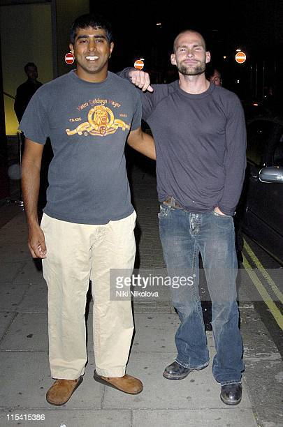 Jay Chandrasekhar and Seann William Scott during Seann William Scott Departs from The Metropolitan Hotel in London August 23 2005 at Metropolitan...