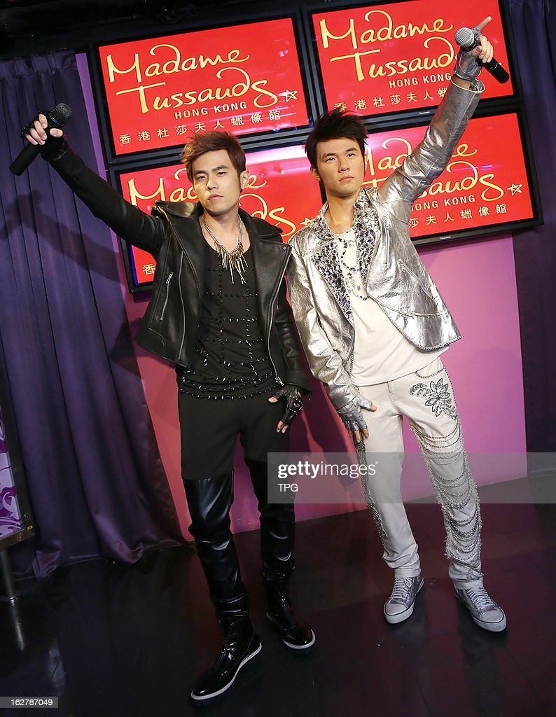 Jay Chou at Madame Tussauds Hong Kong with his wax statue on Tuesday February 26, 2013 in Hong Kong, China.