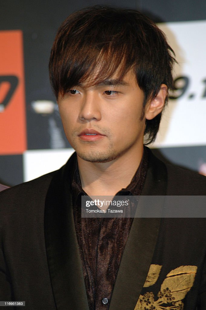 <a gi-track='captionPersonalityLinkClicked' href=/galleries/search?phrase=Jay+Chou&family=editorial&specificpeople=697028 ng-click='$event.stopPropagation()'>Jay Chou</a> during 'Initial D' - Tokyo Press Conference at Shinjuku Tokyu in Tokyo, Park Hyatt Tokyo (Ballroom), Japan.