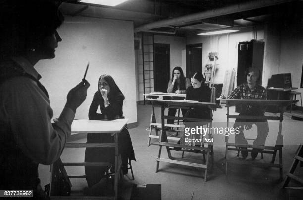 Jay Clark The Only Male In Drama Class Listens To Instructor With Temple Buell College Female Students From Left Susan Anderson Rubina Muskovic And...